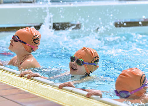 Children's swimming lessons at Penlan Leisure Centre, Swansea