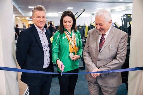 Freedom Leisure's Ivan Horsfall-Turner, Cllr Chris Mullins and Crawley Paralympian Katie-George Dunlevy cut the ribbon and open the new gym facilities at K2 Crawley.