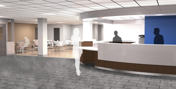 Visual of a new and improved main reception and café | de Stafford Sports Centre