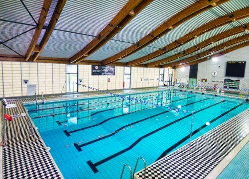 在公园的游泳池竞争游泳池